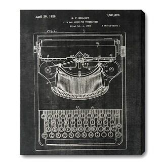 Wynwood Studio 'Typewriter' Silver Foil Canvas Art