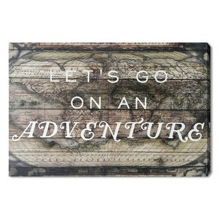 Wynwood Studio 'Let's Go on an Adventure' Typography and Maps Art Plaque