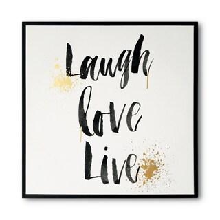 Wynwood Studio 'Laugh Live' Gold Foil Framed Art on Canvas - Black