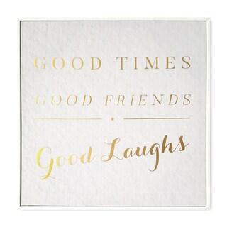 Wynwood Studio 'Good Times' Gold Foil Framed Art on Canvas