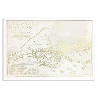 Wynwood Studio 'Gold Boston Map' Gold Foil Framed Art