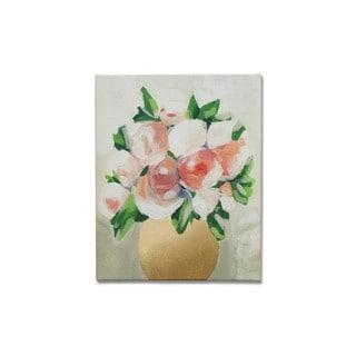Wynwood Studio 'Peach Peony Tulips' Gold Foil Art on Canvas