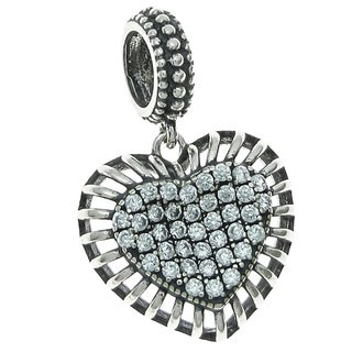 Queenberry Sterling Silver Cubic Zirconia Valentine Love Dangle European Bead Charm