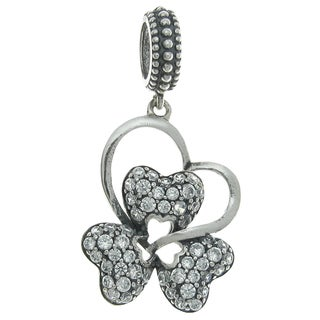 Queenberry Sterling Silver Cubic Zirconia Valentine Heart-leaf Clover Dangle European Bead Charm