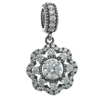 Queenberry Sterling Silver Cubic Zirconia Spring Flower Dangle European Bead Charm