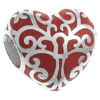 Queenberry Sterling Silver Tree of Love Heart Red Enamel European Bead Charm