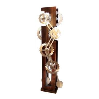 Nova Lighting Classic Ovals Brown Aluminum and Wood Moving Floor Clock
