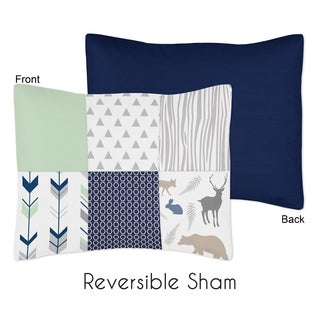 Standard Pillow Sham for the Navy and Mint Woodsy Collection by Sweet Jojo Designs