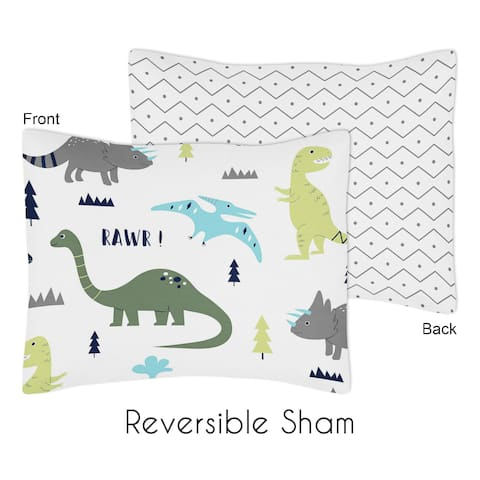 Standard Pillow Sham for the Blue and Green Mod Dinosaur Collection by Sweet Jojo Designs - Multi