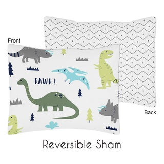 Standard Pillow Sham for the Blue and Green Mod Dinosaur Collection by Sweet Jojo Designs