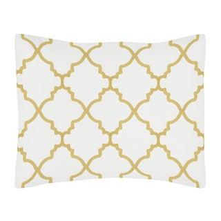 Standard Pillow Sham for the White and Gold Trellis Collection by Sweet Jojo Designs