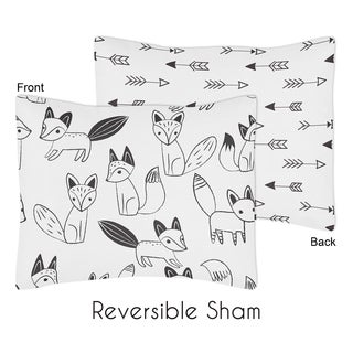 Standard Pillow Sham for the Black and White Fox Collection by Sweet Jojo Designs