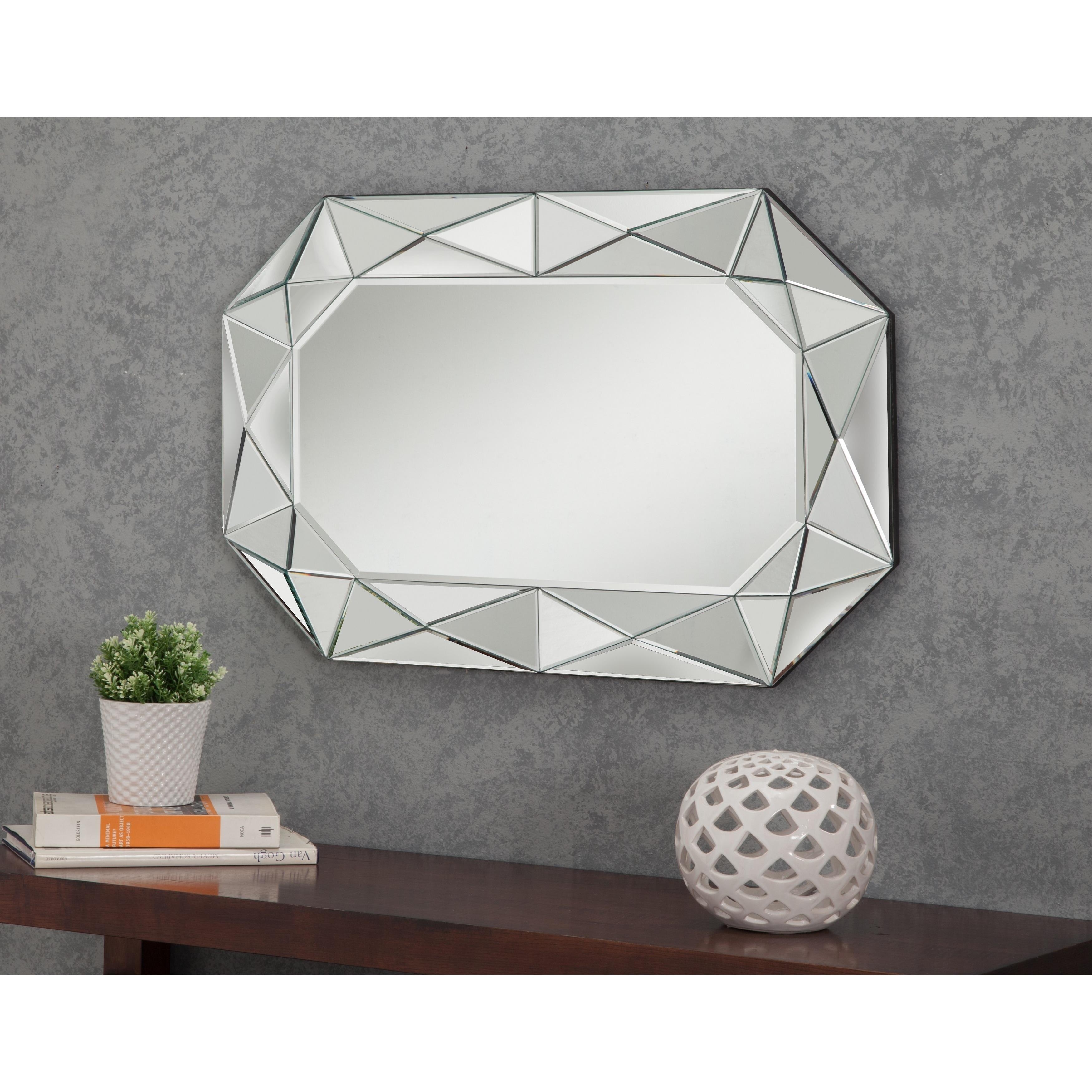 Sandberg Furniture Diamond-Cut Faceted Wall Mirror (Diamo...