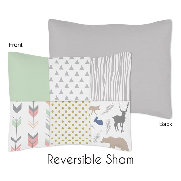 Standard Pillow Sham for the Coral and Mint Woodsy Collection by Sweet Jojo Designs