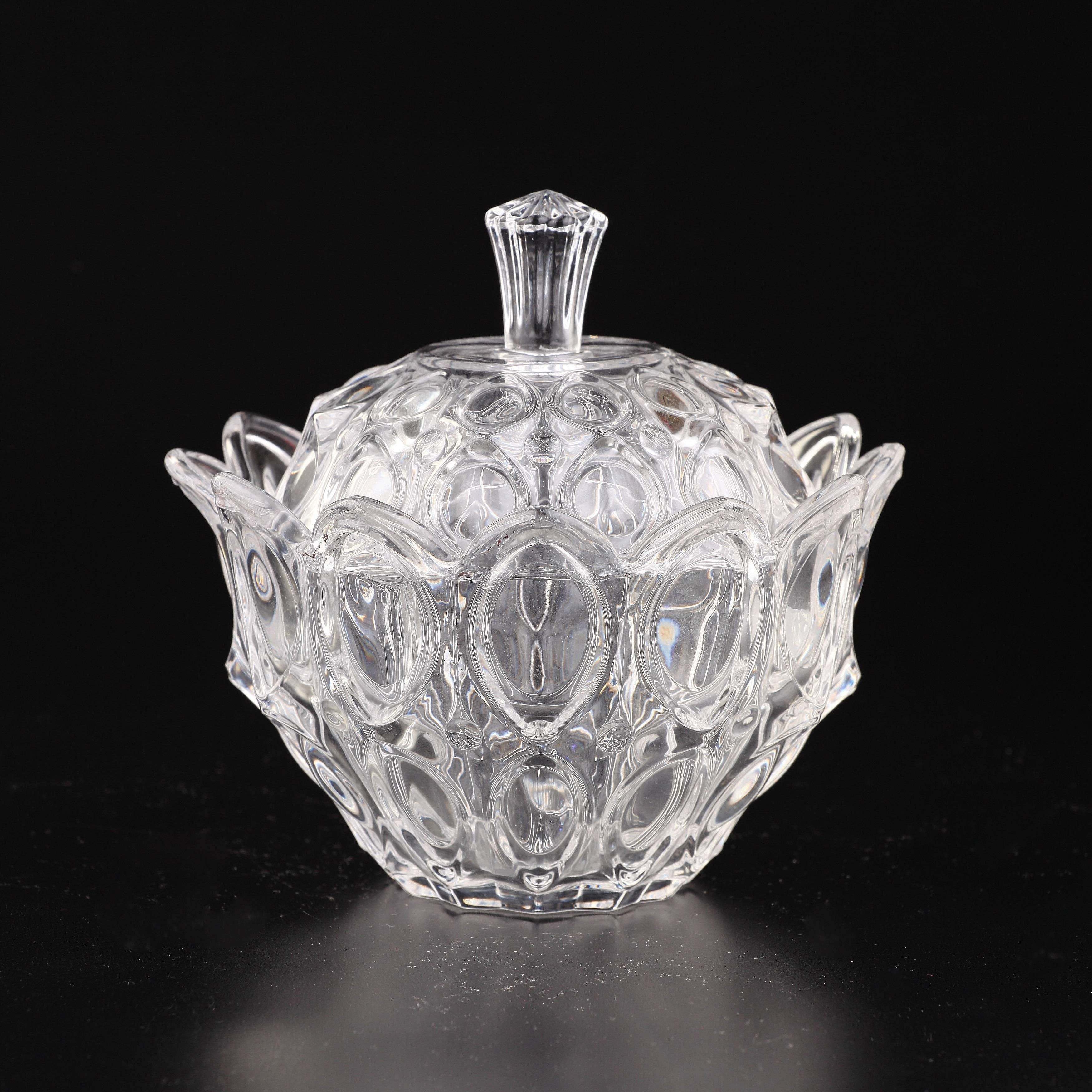 Diamond Clear Glass Flower Petal Covered Candy Dish (cont...
