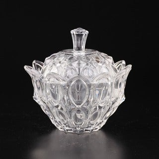 Clear Glass Flower Petal Covered Candy Dish