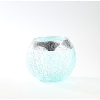 Blue Crackle Glass Bubble Bowl