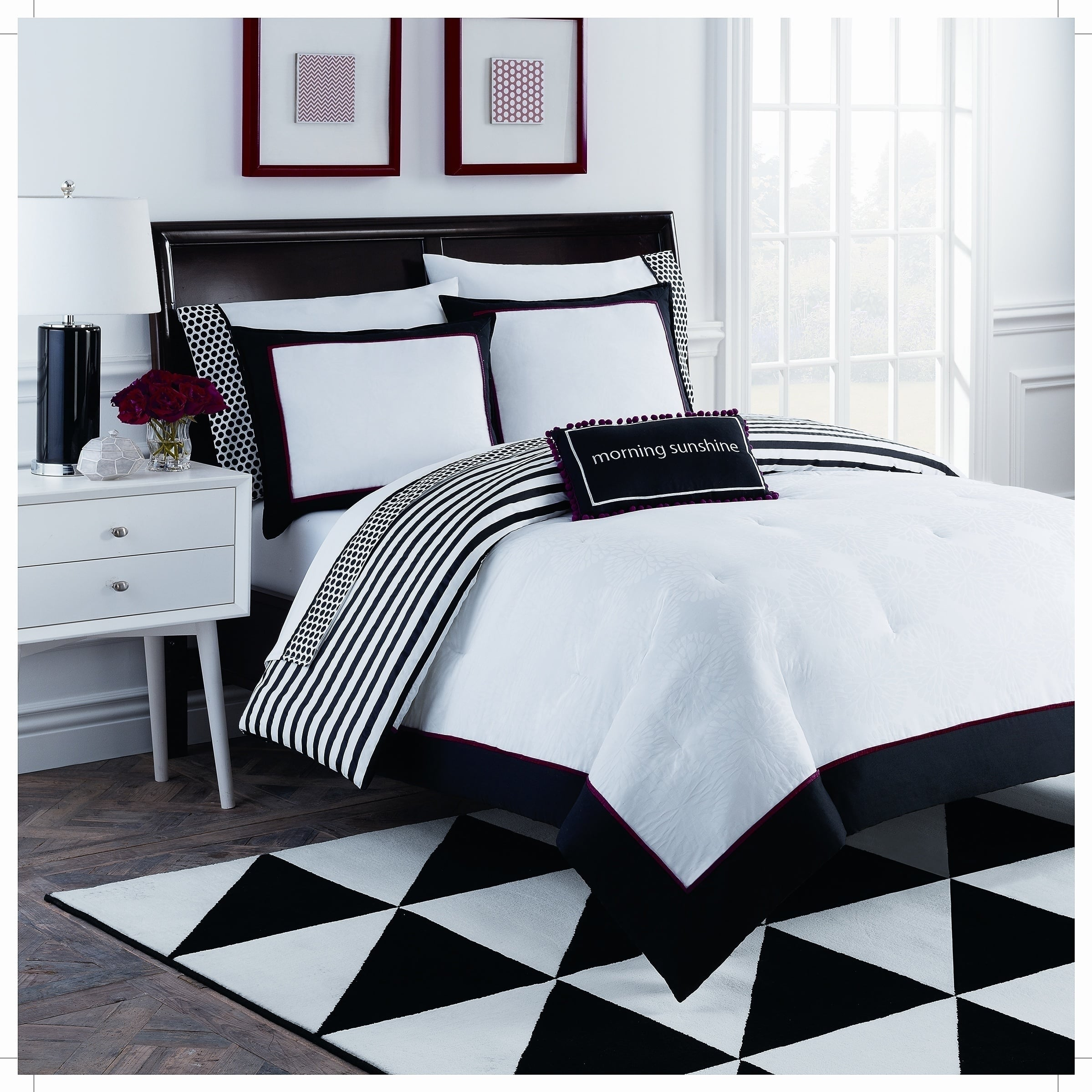 Dahlia 8 Piece Black And White Comforter Set Overstock 14593656