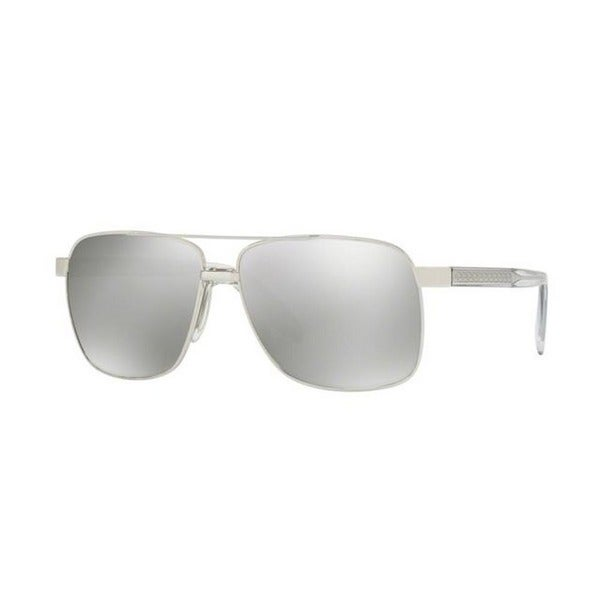 93f29613a49 Versace Men  x27 s VE2174 10006G 59 Square Metal Plastic Silver Grey  Sunglasses