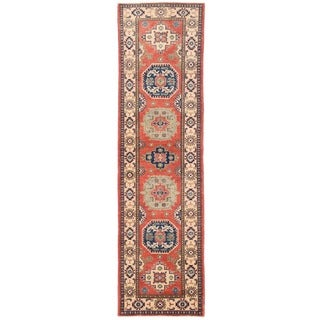 Herat Oriental Afghan Hand-knotted Vegetable Dye Tribal Kazak Wool Runner (2'6 x 9'10)
