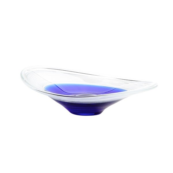 Modern Art Blue and White Glass Bowl