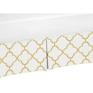 Sweet Jojo Designs White and Metallic Gold Trellis Collection Bed Skirt