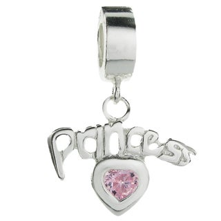 Queenberry Sterling Silver Pink Cubic Zirconia Princess Heart Dangle European Bead Charm