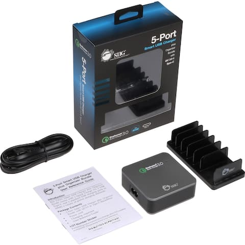 SIIG 5-Port Smart USB Charger plus Organizer Bundle with QC3.0 & Type-C - Black