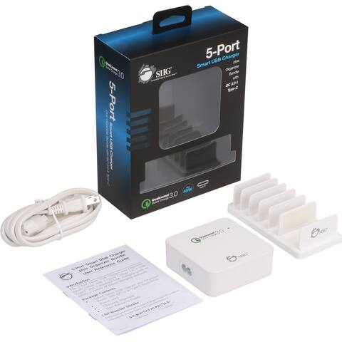 SIIG 5-Port Smart USB Charger plus Organizer Bundle with QC3.0 & Type-C - White
