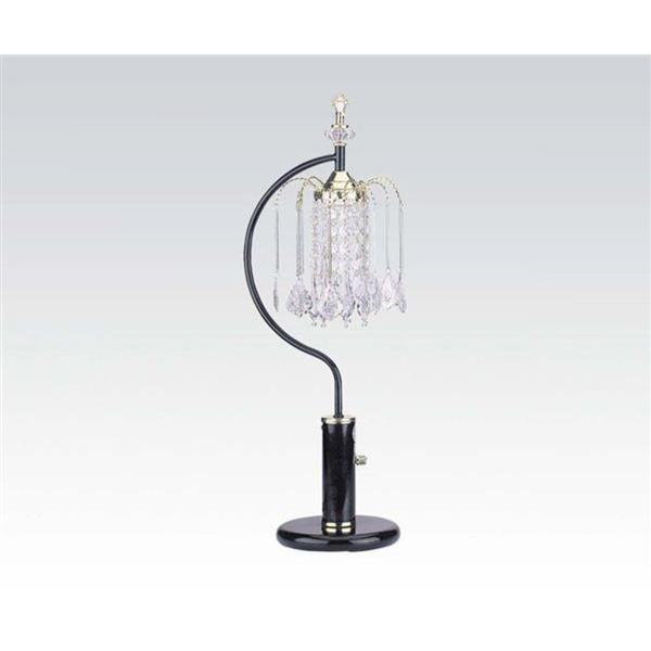 Acme Furniture Chandelier Table Lamp, Black, Crystalline Lamp