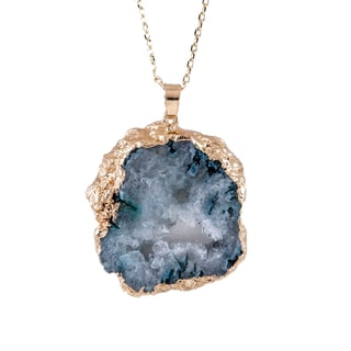 Drusy Slice Gold Pendant Necklace