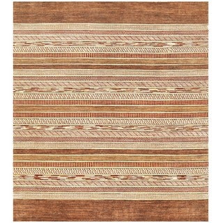 Herat Oriental Afghan Hand-knotted Gabbeh Wool Rug (8' x 9'4)