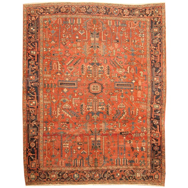 Vintage Persian Heriz Design Wool Area Rug: Shop Herat Oriental Persian Hand-knotted 1920s Antique