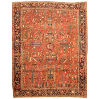 Herat Oriental Persian Hand-knotted 1920s Antique Heriz Wool Rug (8' x 10'6)