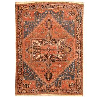 Herat Oriental Persian Hand-knotted 1930s Antique Heriz Wool Rug (7'5 x 10'5)