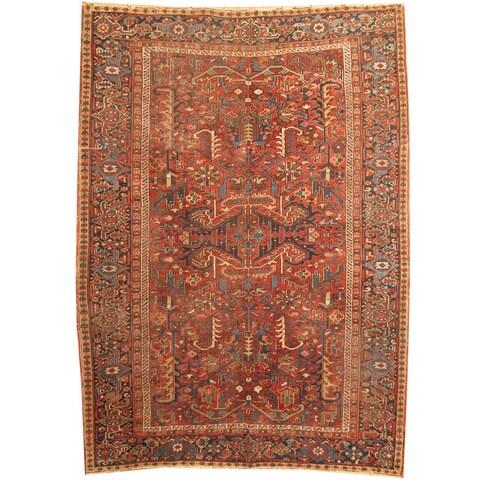 Handmade Herat Oriental Persian 1920s Antique Heriz Wool Rug - 7'4 x 10'4 (Iran)