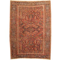Herat Oriental Persian Hand-knotted 1920s Antique Heriz Wool Rug (7'4 x 10'4)