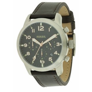 Fossil Pilot 54 FS5143 Black Leather Chronograph Men's Watch
