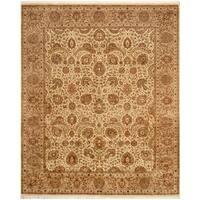 Herat Oriental Pakistani Hand-knotted Tabriz Wool & Silk Rug (8'2 x 9'9) - 8'2 x 9'9