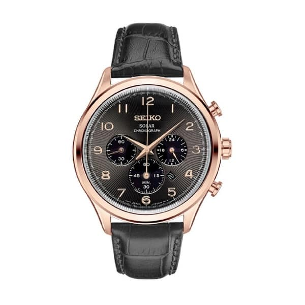 03ef1f796 Seiko Men's Rose Gold Tone Solar Chronograph Watch with a Leather Strap
