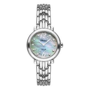 Seiko Women's SUP353 Stainless Steel and Diamond Solar Watch
