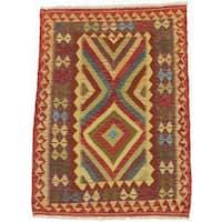 Ecarpetgallery Hand-Woven Anatolian Kilim Orange, Yellow Wool Rug (3'4 x 4'11)