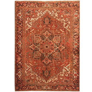 Herat Oriental Persian Hand-knotted 1900s Antique Heriz Wool Rug (8'6 x 11'8)