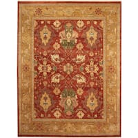 Herat Oriental Indo Hand-knotted Vegetable Dye Oushak Wool Rug (7'10 x 10'1)
