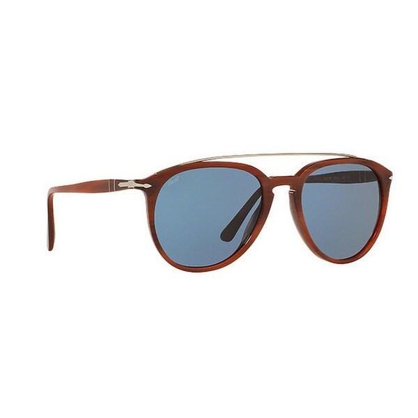 Persol Men's PO3159S 904656 55 Aviator Plastic Brown Blue Sunglasses