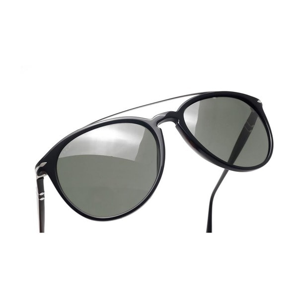f80f69da2f Persol Men  x27 s PO3159S 901431 55 Aviator Plastic Black Green Sunglasses