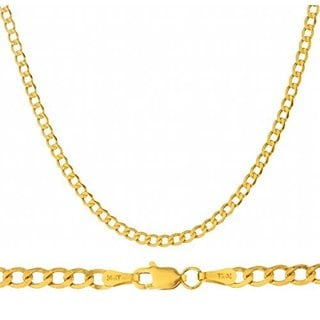14k Yellow Gold 3.3mm Cuban Curb Chain Hollow Necklace