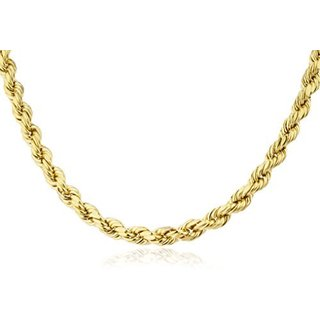 14k Yellow Gold Men's 6mm Rope Chain Hollow Necklace