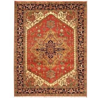 Herat Oriental Indo Hand-knotted Heriz Wool Rug (7'7 x 9'9)