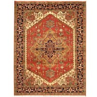 Handmade Herat Oriental Indo Heriz Wool Rug (India) - 7'7 x 9'9
